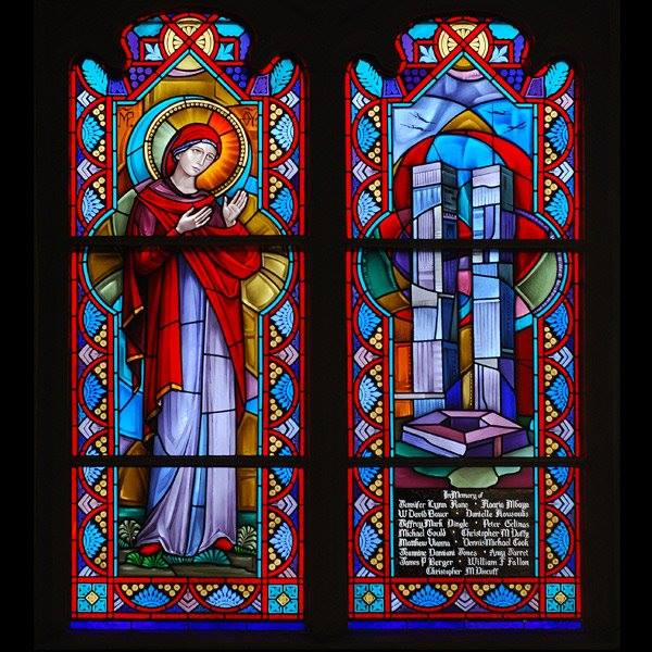 9/11 window at Corr Chapel, Villanova University, near Philadelphia, commemorates 15 alumni killed in the terrorist attacks 15 years ago in New York City, Washington and Shanksville, Pennsylvania. (university photo)