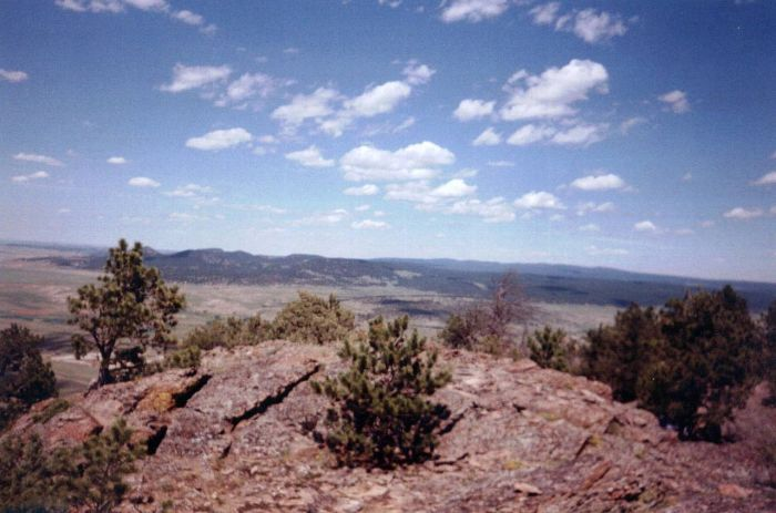 View of the Black Hills from the summit of Inyan Kara, Wyoming, the Lakotas' holy Mountain: this is what they're fighting for; the proposed oil pipeline is what they're fighting against. (Wikipedia)