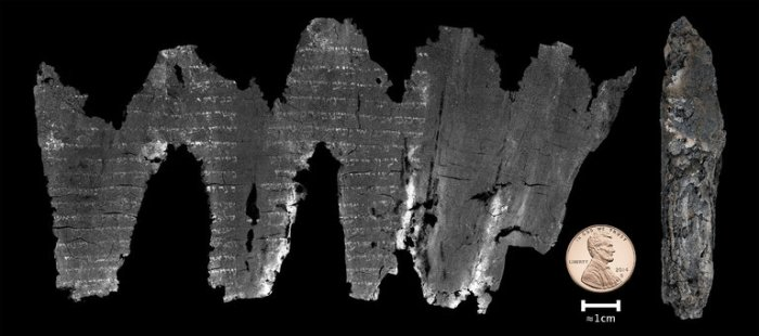 About 50 years ago archaeologists found a charred ancient Bible scroll in the ark by the Dead Sea; it was nothing but carbonized parchment too fragile to unwind. So they put it away in hopes someday other scholars would figure something out. Now they have: a computer scientist at the University of Kentucky, Dr. W. Brent Seales, invented a computer program able to scan it without touching it, and reproduce it as if it were unspooled like the image above. It turns out to be nearly 2000 years old, the earliest known copy of a portion of Leviticus - and best of al,l it matches word for word, letter by letter the Masoretic text long considered the authoritative version, of which modern Bibles are translations. By contrast, the later Dead Sea Scrolls contain a number of alterations or copying errors from the Masoretic text. Searles' technology is astounding to Biblical scholars who never expected to see what was on it, but the validation of the Masoretic version has great religious significance: if the dating is correct, the Masoretic manuscript is the Hebrew Bible at the time of Christ. (W. Brent Seales et al.)