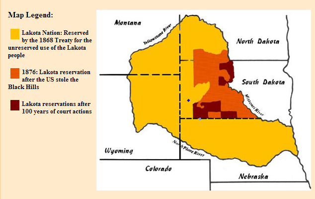 This map shows the former and current boundaries of the Lakota Sioux nation. The yellow area is their former habitation; all but the area in orange was taken back by the U.S. government by a second treaty, then that was abrogated too, leaving the People with a tiny fraction of their former possession. Now the pipeline company, backed by an array of international bankers and corporations, wants to build just over the fence; there are burial sites and holy spots all over the yellow territory. Big Oil won a preliminary court decision, then the Obama Administration immediately called a halt to further construction to ensure the Lakotas' rights are respected and their concerns addressed.