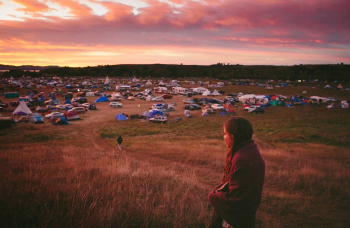 Susan Leopold, of the Patawomeck Nation of Virginia, looked over Sacred Stone Camp where the protesters have gathered.