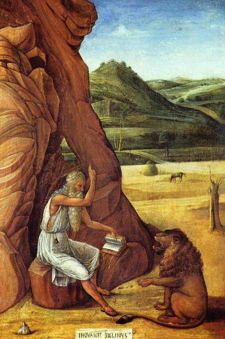 Giovanni Bellini: St. Jerome in the Desert. Born in northern Italy, he traveled extensively, including to France, Egypt and Palestine and was very drawn to the ascetic life; but as a scholar he also needed to be in touch with other thinkers. He finally settled down in a cave near Bethlehem. He is often depicted with a lion which supposedly befriended him for removing a thorn from its paw.