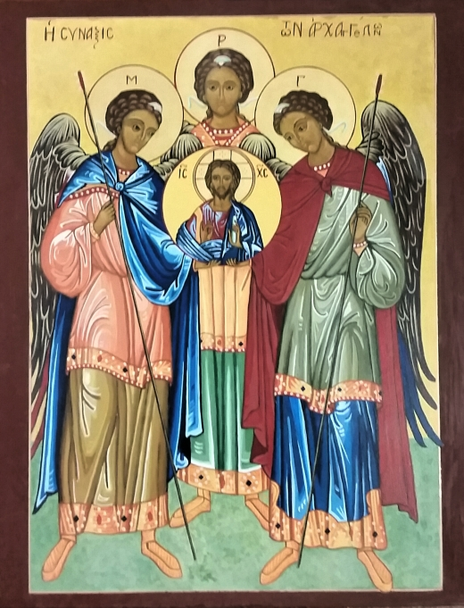 Synaxis of Archangels Michael, Gabriel and Raphael. The term synaxis in this case means the common celebration of a group of saints, who assemble for the liturgy. (The Rev. Anjel Scarborough)