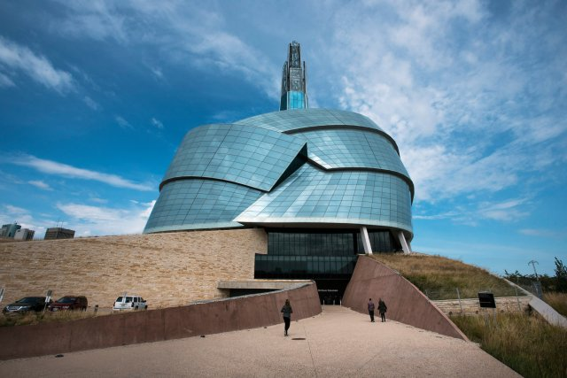 "The Canadian Museum for Human Rights in Winnipeg has proven to be a success with tourists in less-traveled Manitoba, but it has also run into complaints from First Nations leaders that it doesn't contain an exhibit on them, after centuries of genocide and cultural destruction. Curators say the entire museum is infused with First Nations' reality, to which the indigenous people reply, ""So where is it?"" (Aaron Vincente Elkaim/The New York Times)"