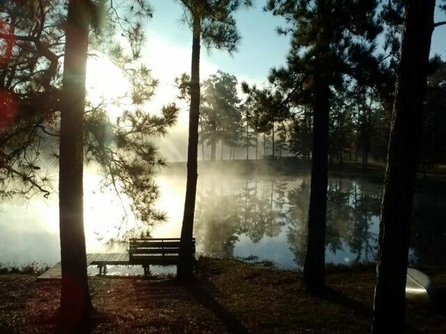 Morning fog over the lake at Camp Hardtner, Louisiana. (camp website)