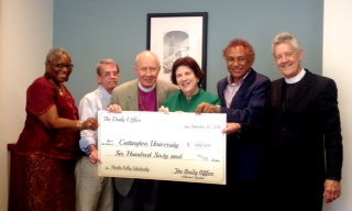 This is a small, low-resolution image taken 20 September at Episcopal Church headquarters in New York City, of our own Martha Kelley, left, and Vicar Josh Thomas next to her, presenting a symbolic check to the American Friends of Cuttington University in Liberia, establishing a scholarship in nursing in Martha's honour; she was in the inaugural class of Cuttington nurses who received baccalaureate degrees in the 1960s. We had hoped to receive a higher resolution image from the Presiding Bishop's office, but this is what they sent, and we publish it now so our Daily Office audience can see: we have fulfilled our mission pledges for 2016. Other mission partners include an after-school program in the Diocese of Brasilia; the Rosebud Episcopal Mission on the Lakota Reservation in South Dakota; and Lunches and Lessons at St. André's School, Mithon, Haiti. (We are still waiting to hear how the church and school were affected by the recent deadly hurricane in Haiti.) (Sellers Kennington, Communications Assistant to the Presiding Bishop)