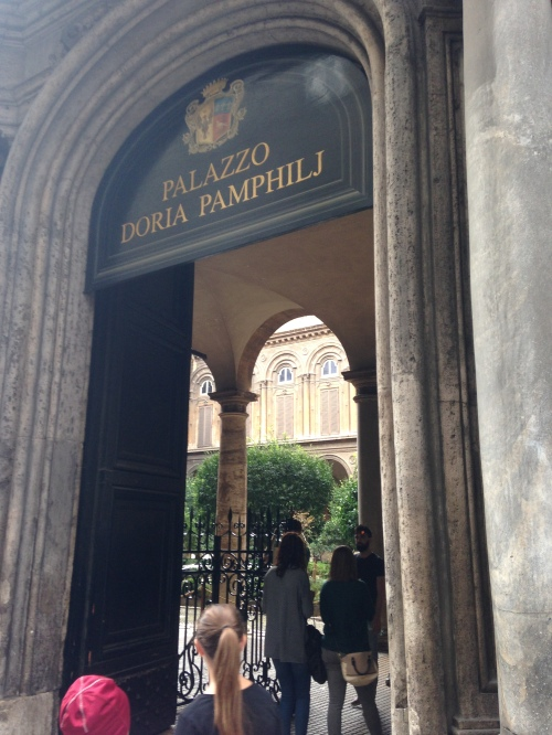 Entrance to the Palazzo Doria Pamphilj in Rome, containing the Anglican Centre. (The Rt. Rev. Cate Waynick)