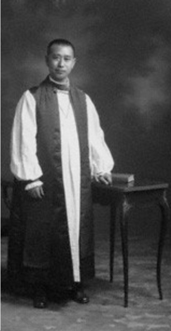 He was raised by Episcopal missionaries and after ordination worked with Canadian missioners in China. In 1948 he attended the Lambeth Conference in England, then arrived home and was put under house arrest by the Communist government, whose oppression of Christians continues today. (source unknown)
