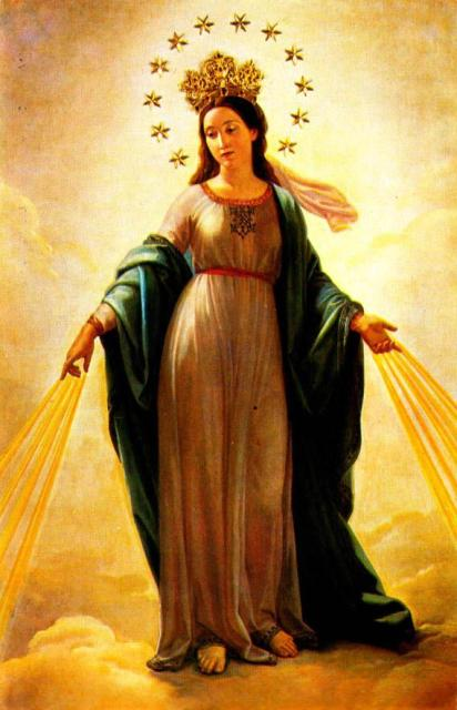 The portent of the woman in childbirth as Mary, the Queen of Heaven. (source unidentified)