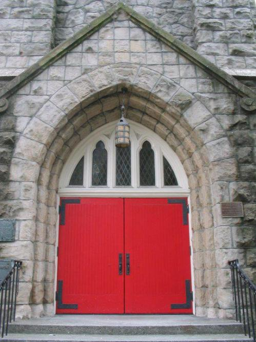 Trinity Church, Seattle, Washington; red doors are ubiquitous in the Episcopal Church. (parish photo)