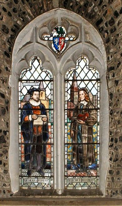 """This window at St. Andrew's, Bemerton, Wiltshire, features Nicholas Ferrar on the left and his close friend George Herbert on the right; Ferrar was the person Herbert entrusted his manuscript of """"The Temple,"""" with instructions to publish it if Ferrar thought it might help some poor soul, but to burn it if he did not. Ferrar published it, and literature is glad he did. But Ferrar is also beloved on his own, for forming the Christian community at Little Gidding with his family and close friends. It's considered a forerunner of the re-establishment of monastic orders in Anglicanism. Puritans criticized Ferrar for his """"Protestant nunnery,"""" but it wasn't founded as a monastery and formal vows were never given. Charles I hid out there once after a disastrous defeat in the Civil War. (Wikipedia)"""