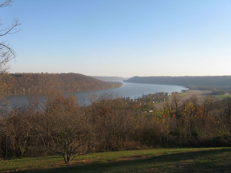 The Ohio River, America's second longest, see from The Point in Hanover, Indiana, the only place where you can see the river bend three times. (Wikipedia)