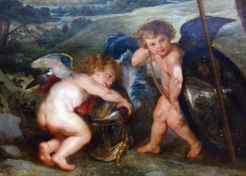 Rubens: detail of The Presentation of the Portrait, because you can never have too many putti.