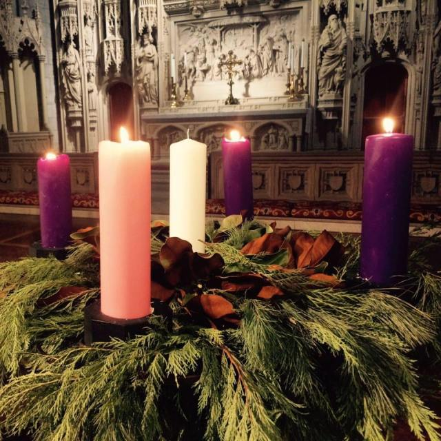 """Advent wreath at Christ Church Cathedral, St. Louis, Missouri, last year. """"Yes, kids, it's okay to light all four candles, but not the center one yet."""" (cathedral photo)"""