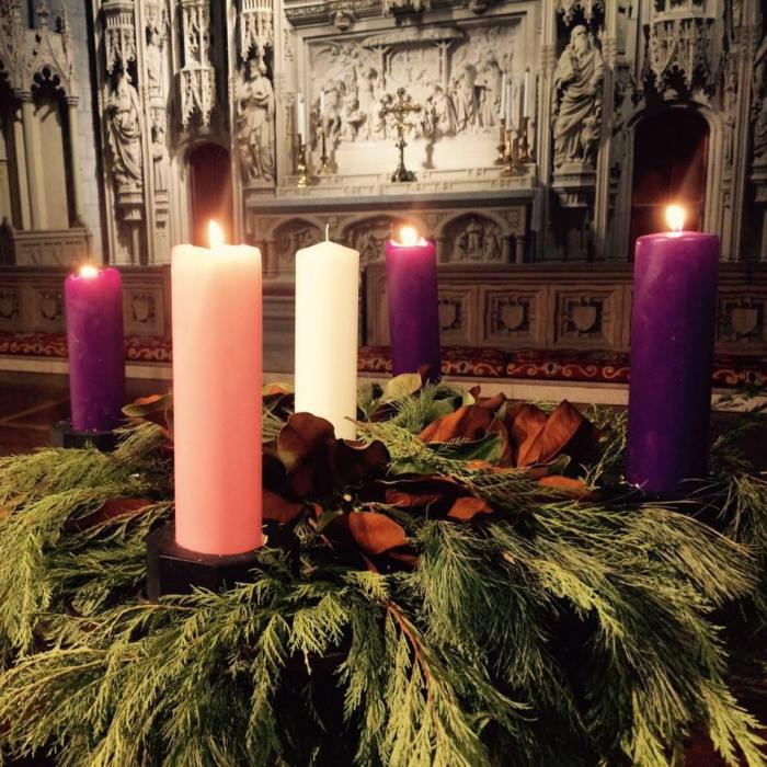 "Advent wreath at Christ Church Cathedral, St. Louis, Missouri, last year. ""Yes, kids, it's okay to light all four candles, but not the center one yet."" (cathedral photo)"