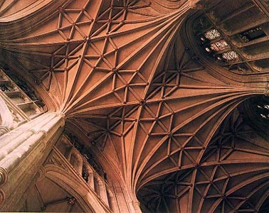 Rib vaulting above the nave at Canterbury Cathedral. (source unknown)
