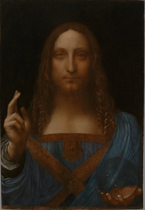 This is called Salvator Mundi, Savior of the World; it was painted by Leonardo da Vinci. It made the news recently when a lawsuit alleged that it was sold by a major auction house a couple of years ago for $80 million to a dealer, who promptly flipped it for $140 million to some rich guy he'd been courting. The dealer, considered reputable up to now, denies this, while the alleged victim claims the dealer's been doing this to him for years now. The whole remarkable episode made me wonder what sort of person would take a portrait of Christ by Leonardo, what most people would take for a sacred object, and attach greed to it? Of the series of paintings allegedly sold, this is the one that got the guy in trouble!