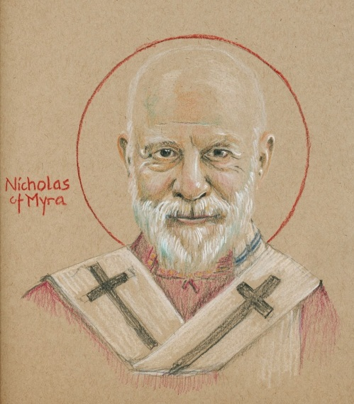 """Tobias S. Haller, BSG, based on Nathanael Deward: St. Nicholas. The saint was born in Asia Minor, present-day Turkey, then part of the Roman Empire but Greek in culture. He was the only son of wealthy Christian parents and was very religious at any early age. Tonsured young and then ordained, he joined an early monastery where they lived in a few caves. After a few years he returned and was named Bishop of Myra. He attended the Council of Nicaea, was strongly against Arianism, and signed the Creed. After his death he was greatly esteemed for his intercessory power, and began to be called Nicholas the Wonderworker. Further legends grew, he was endowed with a penchant for secret gift-giving, and once he hit the capitalist paradise he turned into Santa Claus, made countless public appearances and scores of motion pictures, though after a century of cinema he has only won the Academy Award once - to Edmund Gwinn for """"Miracle on 34th Street."""""""