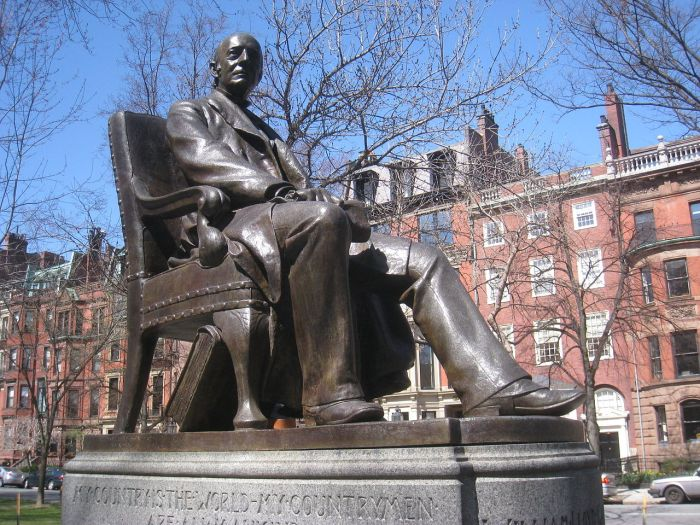 William Lloyd Garrison Memorial, Boston. He did not spring forth fully formed in his abolitionist views; he got his start in the newspaper business as a 13-year-old apprentice typesetter, then gradually began writing news, observations and opinons. At the end of his apprenticeship he and a partner bought their own newspaper, where they published the poet and abolitionist John Greenleaf Whittier. That paper soon folded and Garrison became editor of the first publication to promote Prohibition along with temperance. At 25 he joined the Abolitionist movement, growing dissatisfied in time with the many proposals to compromise on slavery. When he opened The Liberator, he announced in print that he was all in for the cause. (Olin Levi Warner)