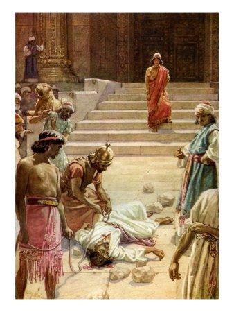The stoning of Zechariah, son of Barachiah, centuries before the stoning of Zechariah the prophet. (douglasbeaumont.com)