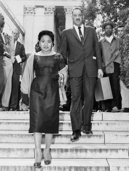 Cecilia and Thurgood Marshall leaving the Supreme Court in 1954 after he won one of the biggest cases in U.S. history, reversing an 1896 decision that upheld the American apartheid. (United Press International)