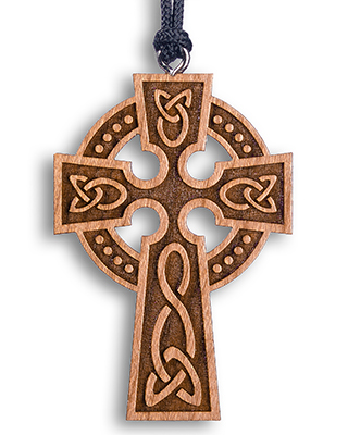 A Celtic cross made of wood for St. Aelred's Day; he was the patron saint of friendship.