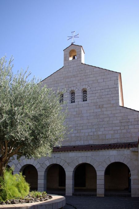 Church of the Multiplication, Tagbha, Israel, said to be the site of Christ's feeding the 5000; this is the third church at this location. (Berthold Werner)
