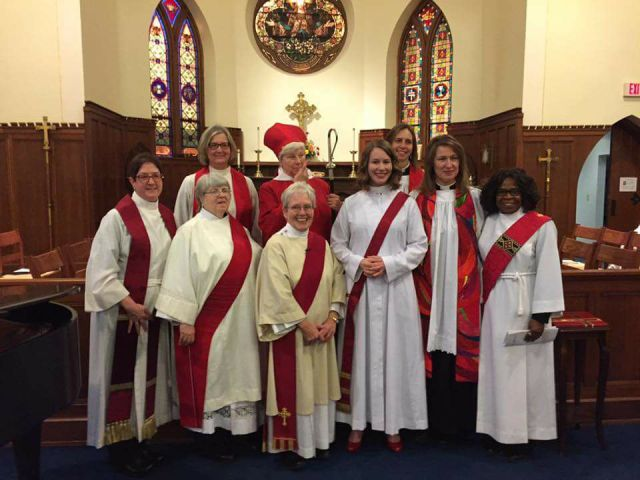 Alissa Goudswaard Anderson (front row, second from right) was ordained a deacon Saturday by Bishop Cate Waynick of Indianapolis at our home parish, St. John's, Lafayette. (parish photo)