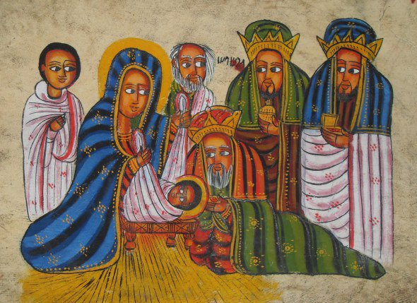 We have no source on this Epiphany icon, but it looks Ethiopian to us, with the prominent eyes and rich colors; as an icon it strips away the distracting externals to focus on the essentials: the showing of Jesus to non-Jews within days of his birth. Without this event, most of today's 2 billion Christians would be excluded from what would likely be a small Jewish sect. What this icon depicts, in other words, is your salvation.
