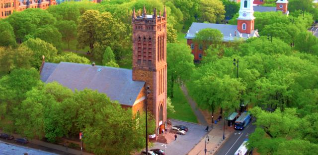 The Yale College Green in New Haven, Connecticut has three churches side by side: two Congregational and one Episcopal. (via the Rev. Michael Hartney)