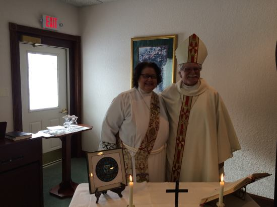 The Bishop of Northern Michigan, Rayford Ray, celebrated the Eucharist Sunday with Deacon Carol Carson-Hull at Holy Innocents', a small but thriving house church at Little Lake, where our chaplain, Mother Gwen Hetler, is one of the presiders.