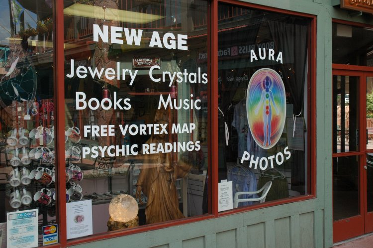 You can buy a picture of your aura at this crystal shop - or you could use PhotoShop, which would be cheaper. What a vortex map might be, we haven't yet determined. (Laura Cowen)