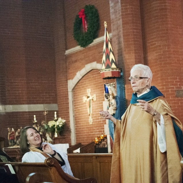 "History made and recalled yesterday: the Rev. Jackie Means, the first woman ""regularly"" ordained a priest in The Episcopal Church on 1 January 1977, celebrated and preached on Holy Name Day at the place where it happened 40 years ago, All Saints', Indianapolis. My bishop and hers, John Pares Craine, identified her early as a talented prison minister and potential priest, and pushed TEC both firmly and gently to approve women's ordination Churchwide, while regularizing a handful of rebellious wimmin who'd been ordained starting in 1974. It has all worked out just as Bishop Craine hoped - though he got sick over the holidays and had to miss the ordination. Then it turned out he'd had a backup bishop from the start. (Diocese of Indianapolis)"