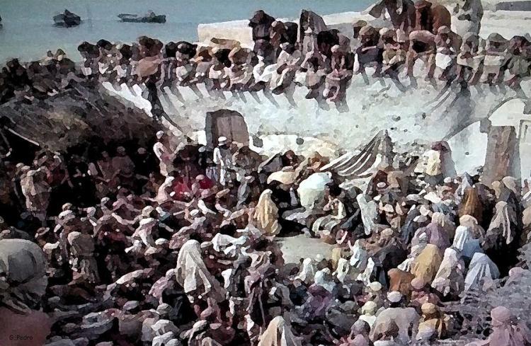 George Pedro: Jesus Speaking to a Crowd