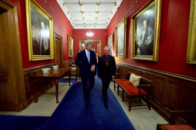 Outgoing U.S. Secretary of State John Kerry visited the Archbishop of Canterbury yesterday at Lambeth Palace, London; they talked about peace and reconciliation efforts once Kerry returns to private life. (Lambeth Palace)