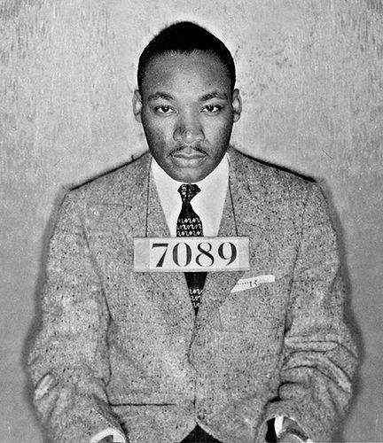 Dr. Martin Luther King Jr. was arrested 30 times in his short life, most notably in Birmingham, where he wrote his famous Letter from a Birmingham Jail; but this is not that booking photo. That day he was wearing blue jeans and a casual shirt. We believe this may be the mug shot taken after his first arrest in 1955 for leading the Montgomery, Alabama bus boycott, a yearlong campaign that launched him to world prominence. Our search for the origin of this photo proved fruitless, except in illustrating how often it has been republished around the world. You're looking at the best of America here and take hope from it, even as the USA prepares to inaugurate Donald Trump.