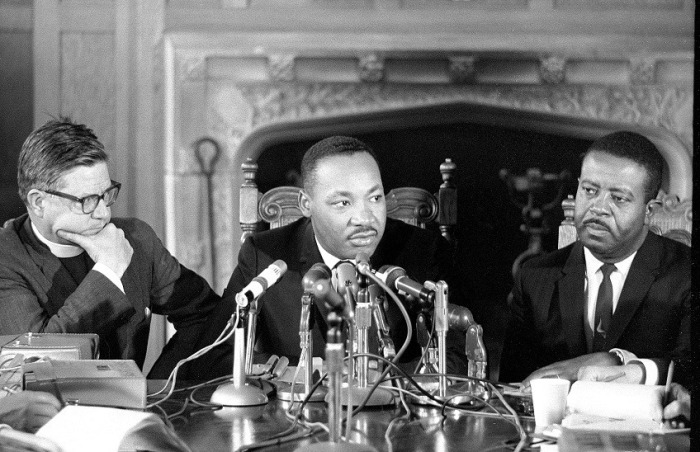 Bishop of California James Pike, Martin Luther King, Jr. and the Rev. Ralph Abernathy, King's successor at the Southern Christian Leadership Conference, at a press conference at Grace Cathedral, San Francisco in March 1965. (Geroge Conklin)