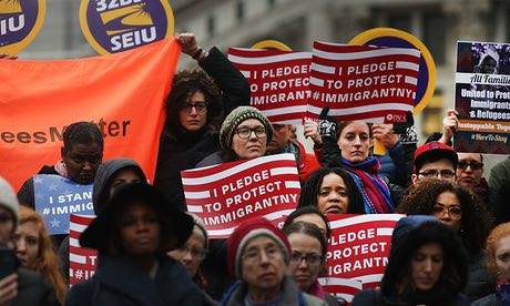 A pro-immigrant rally in New York on Friday, the same day the United States closed its borders to refugees and announced it will apply a religious test to entry applications from 7 Muslim nations. Experts say the order is illegal and has been for years. (The Guardian)