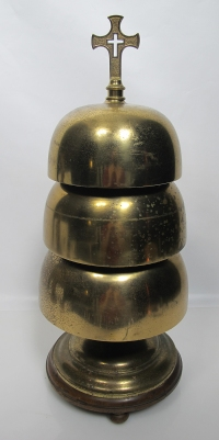 """A 19th century Sanctus bell, of the sort I used to ring as an acolyte 50 years ago. Sanctus bells, rung near the start of the Great Thanksgiving of the Eucharist, were said to """"wake people up,"""" especially Roman Catholics, so they'd pay attention to the heart of the Mass; but in time people got habituated to hearing the bell go off, and thought themselves deprived if they didn't hear it. (eBay)"""