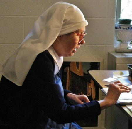 """We ask your prayers today for the repose of the soul of Sr. Hilary of the Community of the Transfiguration in Cincinnati, Ohio; she died a week ago on her name day, the Feast of St. Hilary of Poitiers. """"Receive her into the arms of your mercy, into the blessed rest of everlasting peace, and into the glorious company of the saints of light."""" (convent photo)"""