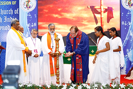 "Thomas Oommen, the Bishop of Madhya Kerala, was elected Moderator of the Church of South India at its 35th Synod in Kottayam, just a few months after celebrating his own diocese's 200th anniversary. ""The boundaries of the denominations of the Christian Church must become thinner in order to proclaim Jesus in practice,"" he said. He also pledged to continue to ""take up the cause of ecological concerns, of the rights of dalits and adivasis and the need for gender equality. We will continue to oppose injustice, particularly where it concerns the rights of Dalit Christians."" The church was formed in 1947, the year of Indian independence, as a merger of several Protestant denominations while retaining episcopal order and polity. He will serve half-time in his own diocese and half at CSI headquarters in Chennai. (Church of South India)"