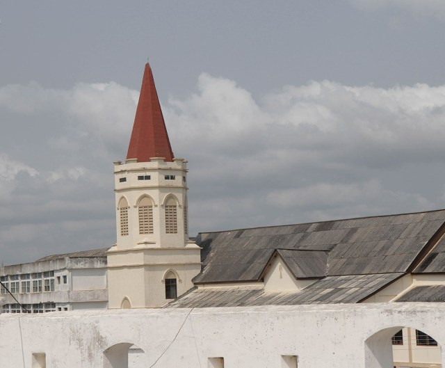 Christ the King Church, adjacent to XXX Castle, was the first Anglican church in Ghana; it replaced an Anglican chapel over the slave dungeons.