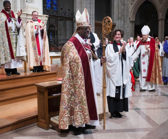 The Rev. Carl Wright of the Diocese of Maryland was consecrated Suffragan Bishop for the Armed Forces and Federal Ministries Saturday at Washington National Cathedral. A former Air Force chaplain, he was elected by the House of Bishops, approved by a majority of dioceses, and now serves under Presiding Bishop Michael Curry. (Donovan Marks/cathedral photo)