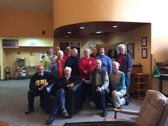 Our Bishop, Cate Waynick of Indianapolis, is retiring in April after 20 years in the Big Mitre, and one of her last events was a retreat this weekend with the deacons of the diocese. She's got other interests in mind besides the Big Chair, though. (Sean Sullivan)