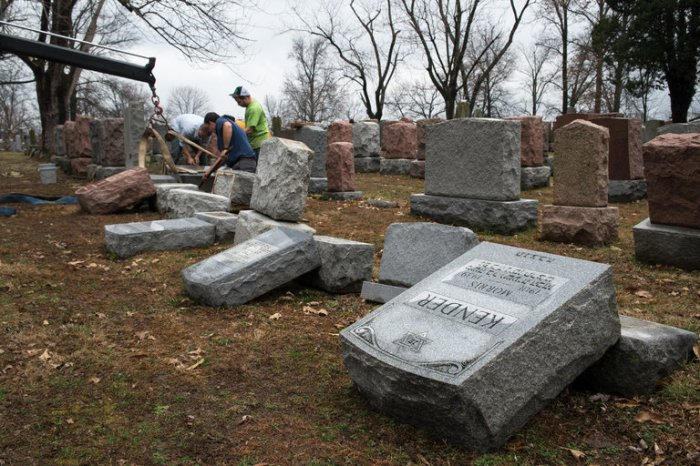 Nearly 200 graves were vandalized last weekend at a Jewish cemetery in suburban St. Louis, Missouri. This is the anti-Semitic incident that finally got Donald Trump's condemnation. He and his closest advisers have been egging on young right-wing bigots for months, but once these pictures came out he wrapped himself in his son-in-law's prayer shawl long enough to release a statement. (Nick Schnelle/The New York Times)
