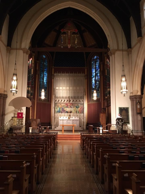 The lovely interior of Christ Church, Rochester, New York - where our Vicar is glad not to have to preach under that sounding board. (parish photo)