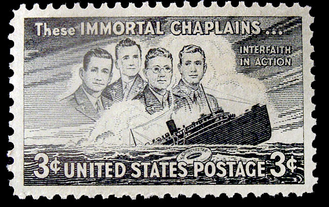 They were two Protestants, a Roman Catholic and a Jew - but they ministered to their men all the same, without regard to religion or creed. And three years after World War II ended, the U.S. Post Office issued this first-class commemorative stamp in their memory.