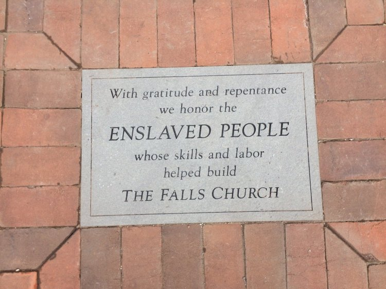 The new plaque in the sidewalk at the Falls Church in Virginia. (parish photo)