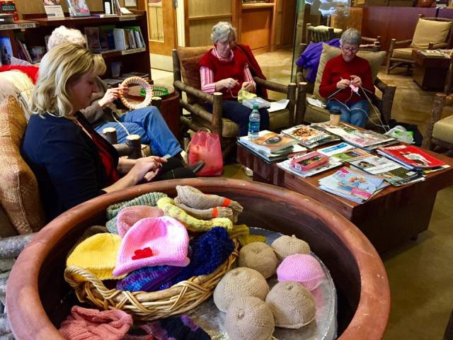 A group of women in Yakima, Washington get together every Tuesday to knit and crochet together for a good cause: they make knockers out of yarn for women who have undergone mastectomies. They say the name makes people smile every time it comes up, which makes it easier to talk about a woman's practical needs and to offer support. Wendy Walker, second from left, is one of our webcasters and told us they were being interviewed this week for a feature story on the local news. (KNDO-TV)