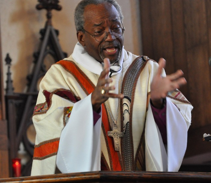 "The American Presiding Bishop Michael Curry completed the first of six planned ""revivals"" in the next two years with his first stop last weekend in the Diocese of Pittsburgh. The 3-day series of events reported good crowds, multiracial and ecumenical leadership, youth events, four of the PB's patented stemwinder sermons, and music by the Rodman Street Missionary Baptist Church choir and lots of Amens. ""Episcopal Church, we need you to follow Jesus. We need you to be the countercultural people of God who would love one another, who would care when others could care less, who would give, not take,"" he told the gathering at Calvary Church in the Shadyside neighborhood. He plans other revivals in the Dioceses of West Missouri, Georgia, San Joaquin, Honduras and a joint evangelism mission with the Church of England in 2018. (Photos and reportage by the Rev. Mary Frances Schjonberg, Episcopal News Service)"